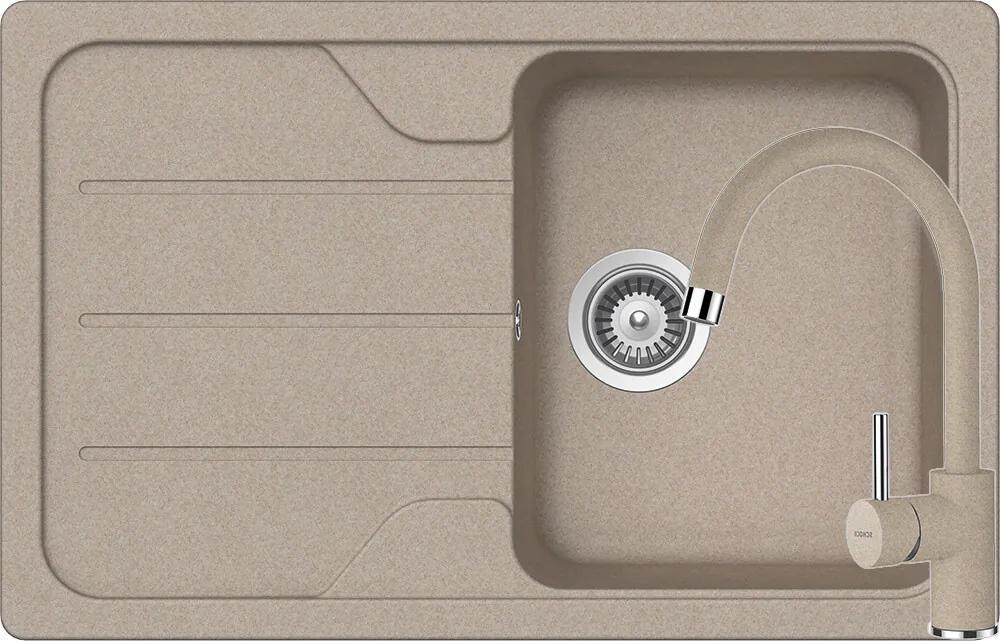 Set Chiuveta Schock Formhaus D-100S 780 x 500 mm si Baterie Schock Plutos Sabbia Cristalite