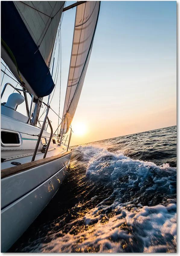 Tablou pe sticlă acrilică Yacht pe mare