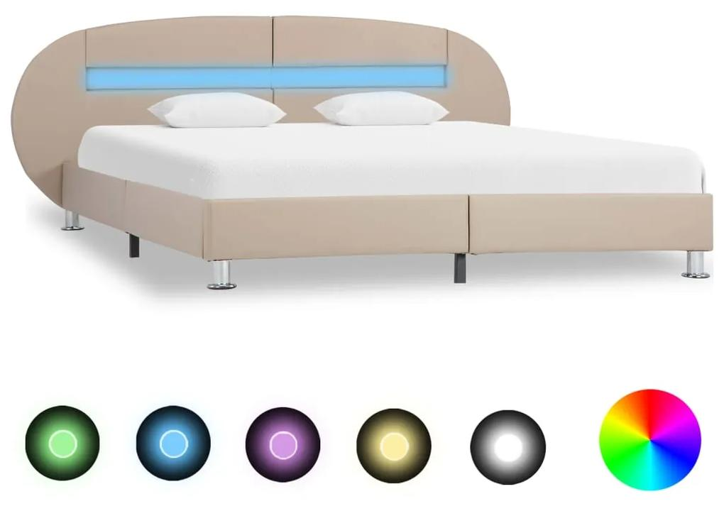 285449 vidaXL Cadru pat cu LED, cappuccino, 180 x 200 cm, piele ecologică