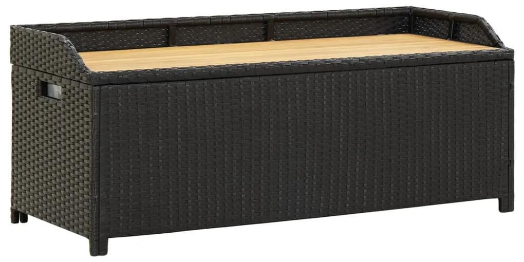 46480 vidaXL Bancă de depozitare pentru grădină, negru, 120 cm, poliratan