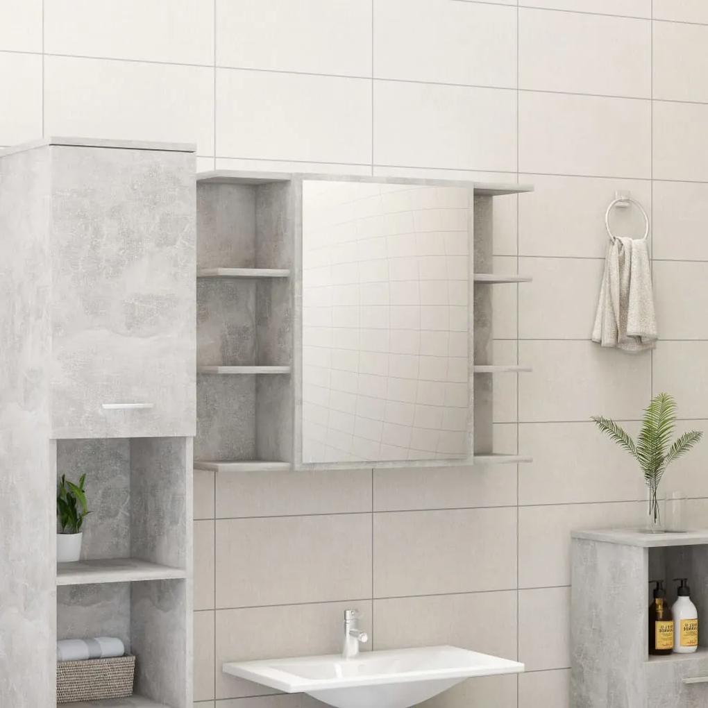 802610 vidaXL Dulap de baie cu oglindă, gri beton, 80 x 20,5 x 64 cm, PAL