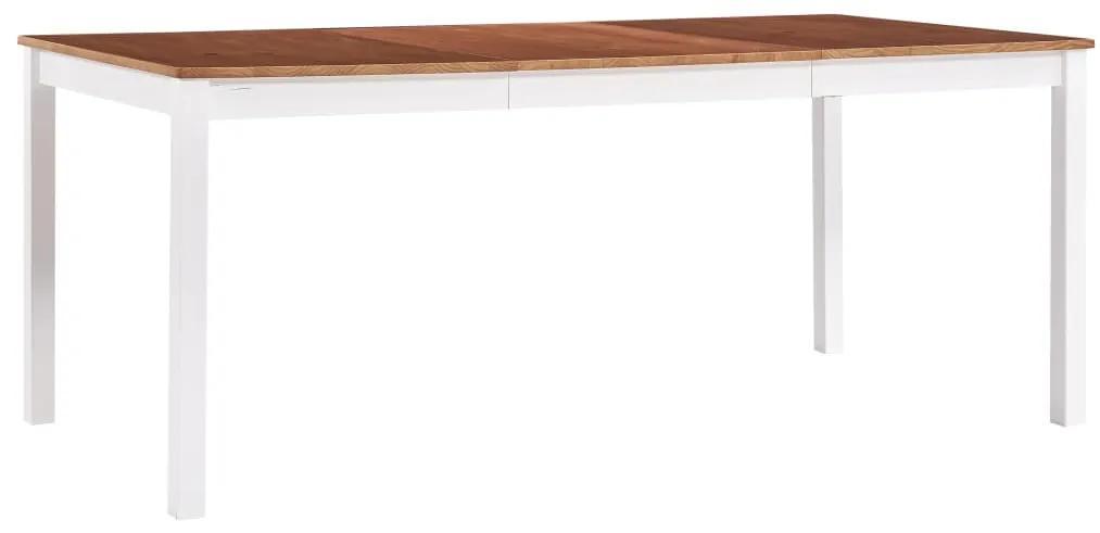 283408 vidaXL Masă de bucătărie, alb și maro, 180 x 90 x 73 cm, lemn de pin