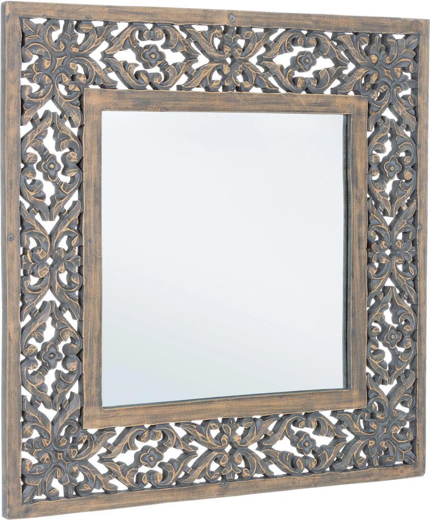 Oglinda decorativa perete cu rama negru patinat Dalila 60 cm x 60 cm