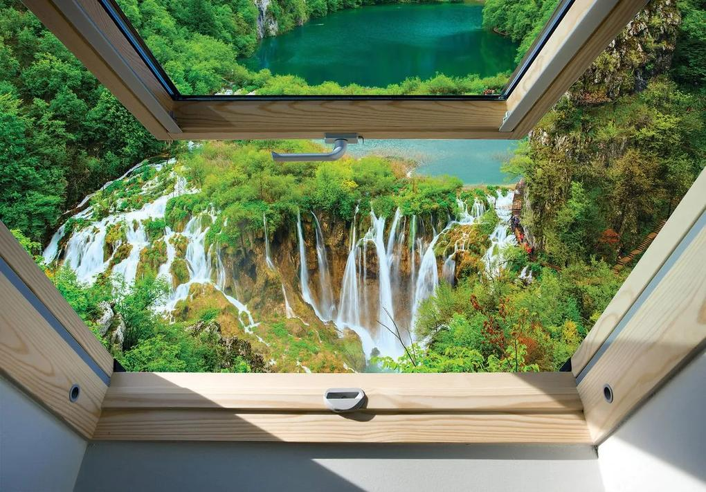 Fototapet - Privire spre geam și cascadă (254x184 cm), în 8 de alte dimensiuni noi