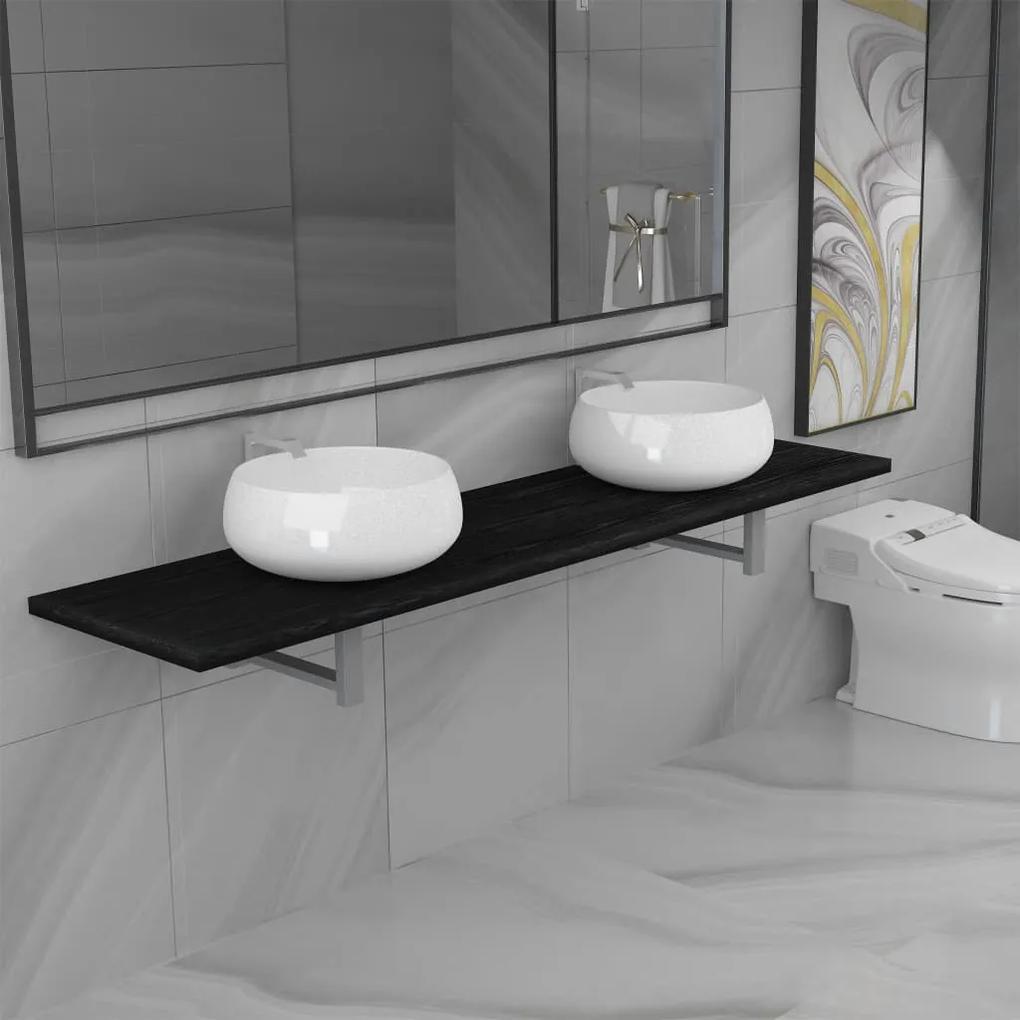 279397 vidaXL Set mobilier de baie din 3 piese, negru, ceramică