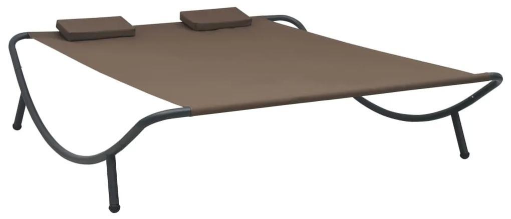 48075 vidaXL Pat șezlong de exterior, maro, material textil