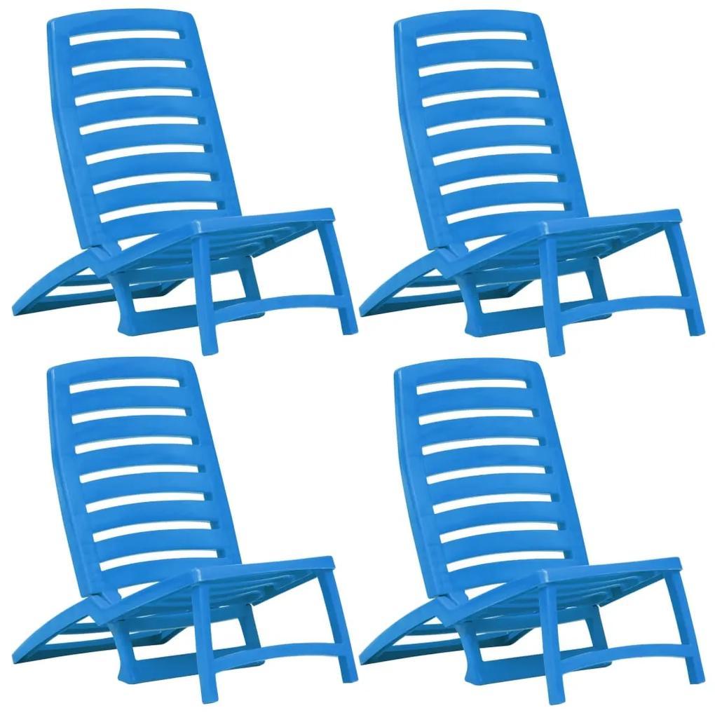 45626 vidaXL Scaun de plajă pliant, 4 buc., albastru, plastic