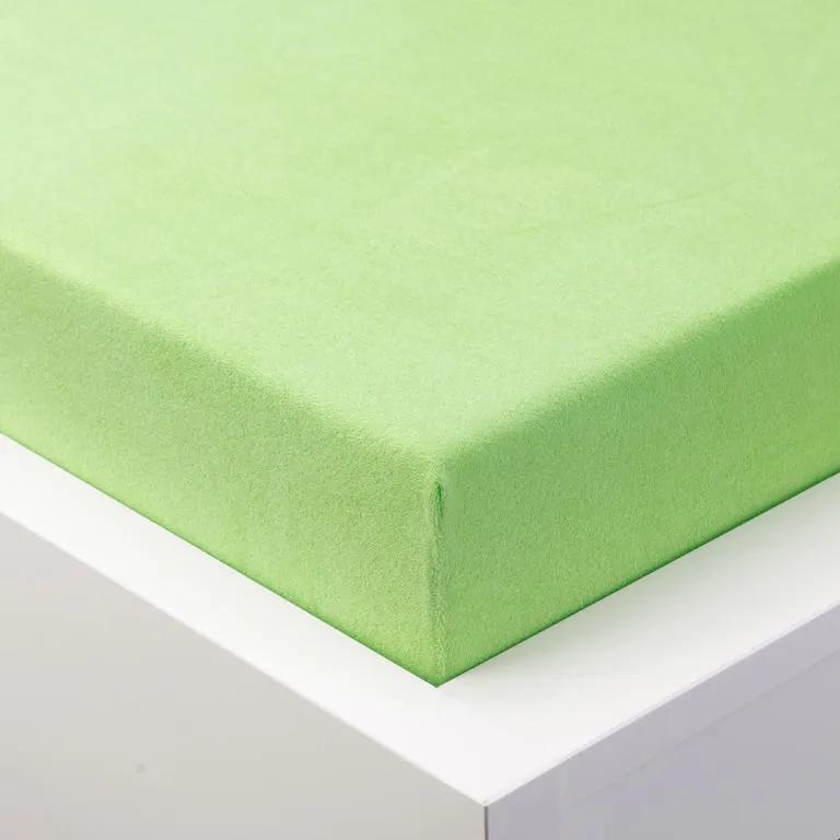 Cearşaf cu elastic frotir EXCLUSIVE de culoare verde măr pat dublu