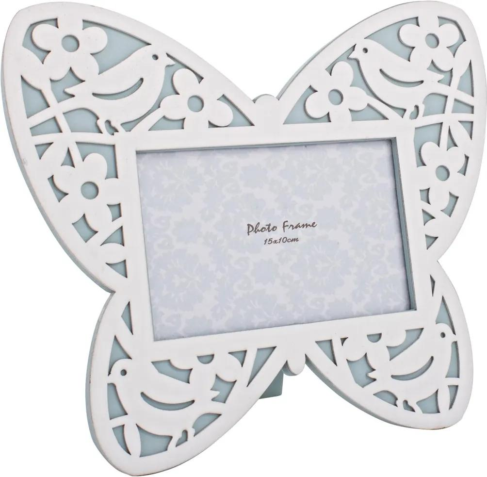Rama foto de masa lemn alb albastru model Fluture 27 cm x 23 h