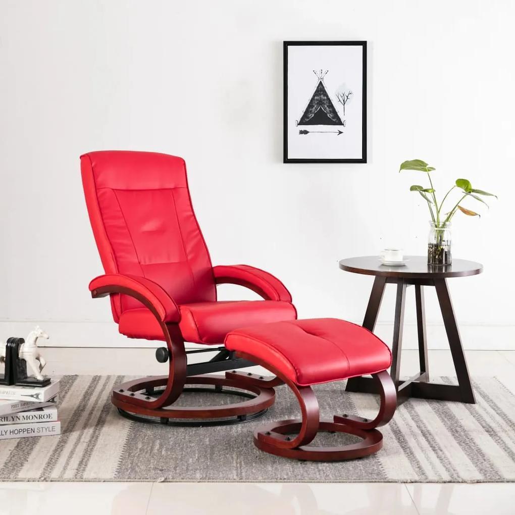 248602 vidaXL Fotoliu rabatabil cu taburet, roșu, piele ecologică