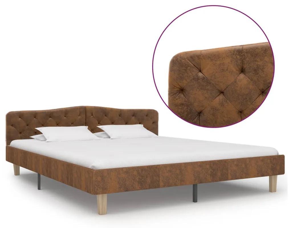 284941 vidaXL Cadru de pat, maro, 180 x 200 cm, piele întoarsă ecologică