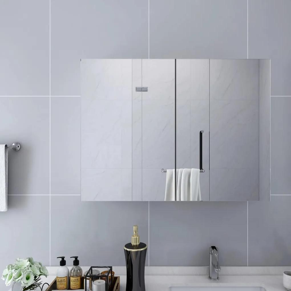 325186 vidaXL Dulap de baie cu oglindă, alb, 80 x 15 x 60 cm, MDF