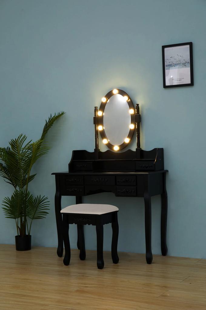Set Julia, Masă de toaletă cu oglindă iluminată LED, control touch, 7 sertare, scaun, Negru