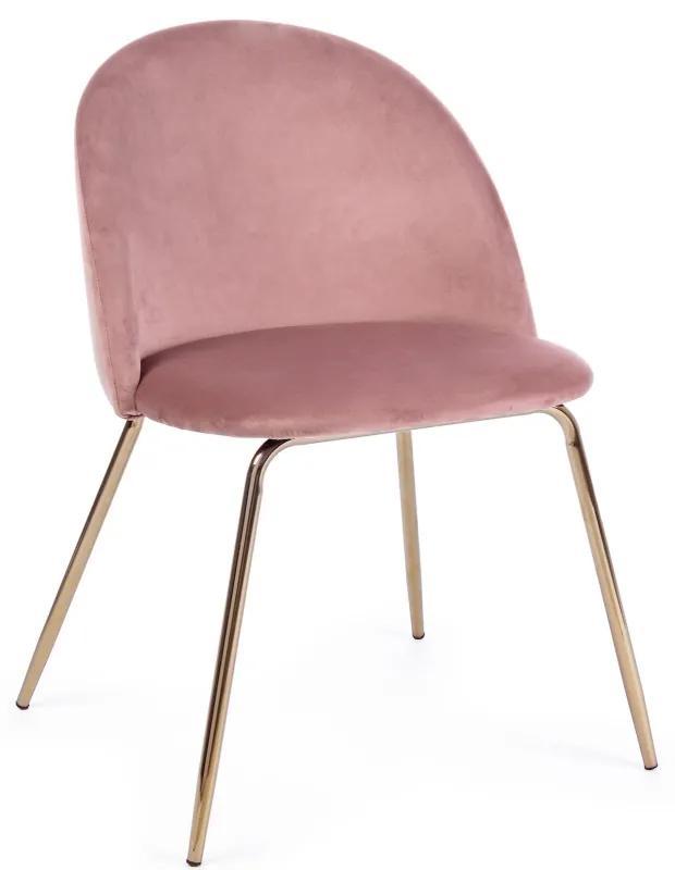 Scaun catifea roz si picioare aurii Tanya Pink
