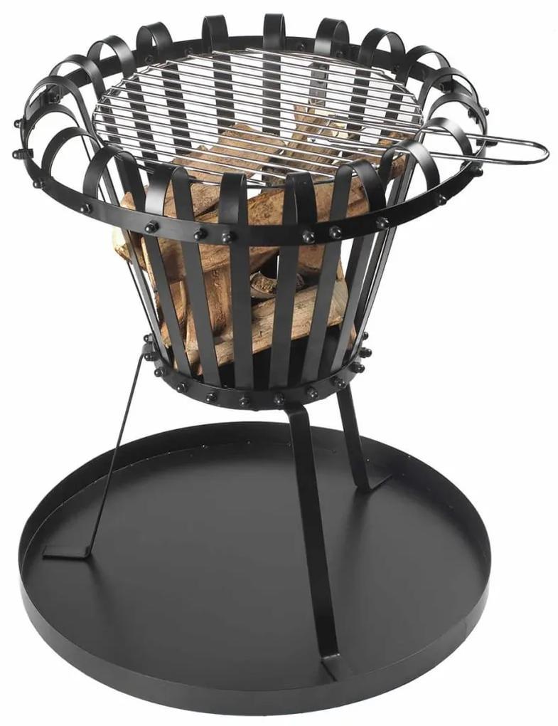 420368 Perel Coș de foc cu tavă de cenușă, negru, rotund, BB650