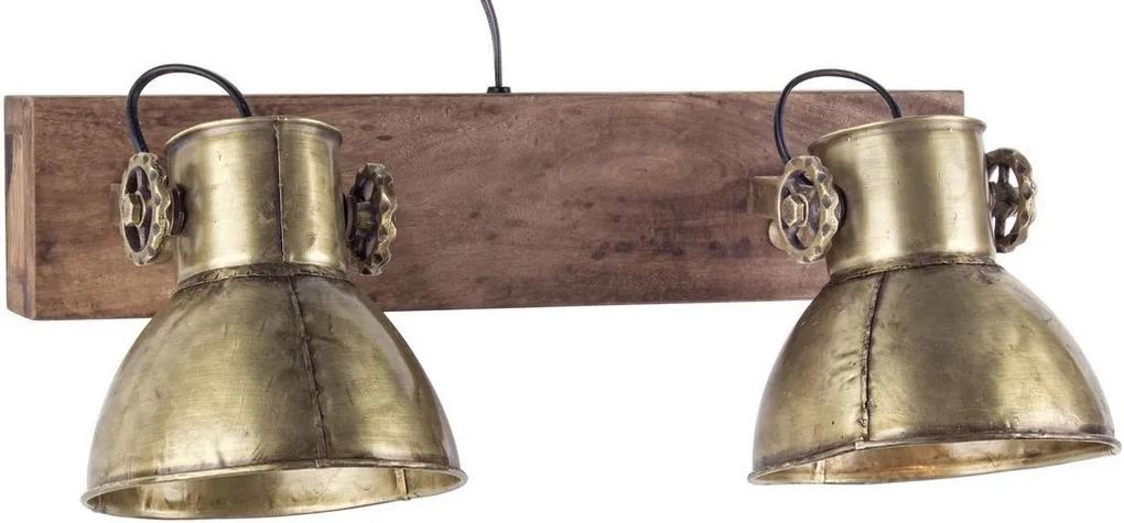 Lustra de perete cu suport lemn natur si abajur metal auriu Zurine 51 cm x 18 cm x 27 h