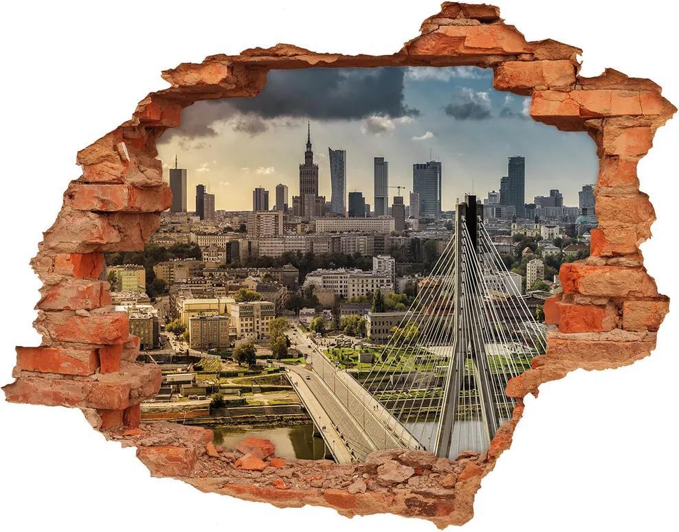 Autocolant un zid spart cu priveliște Varșovia Polonia