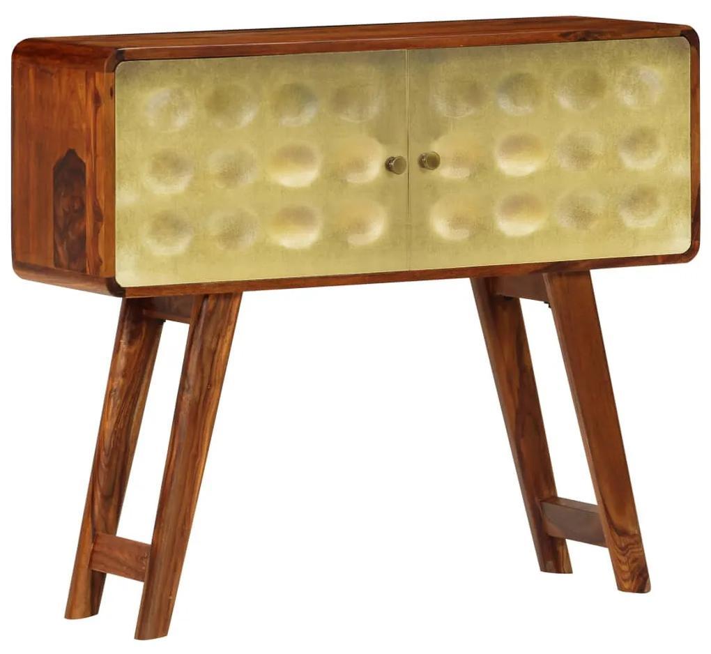 246346 vidaXL Servantă lemn masiv de sheesham cu imprimeu auriu 90x30x77 cm