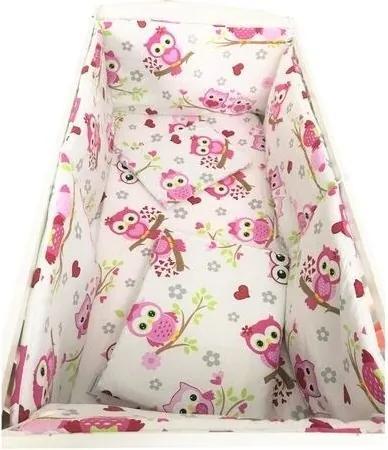Deseda - Lenjerie de pat bebelusi 120x60 cm cu aparatori laterale pufoase  Bufnite roz