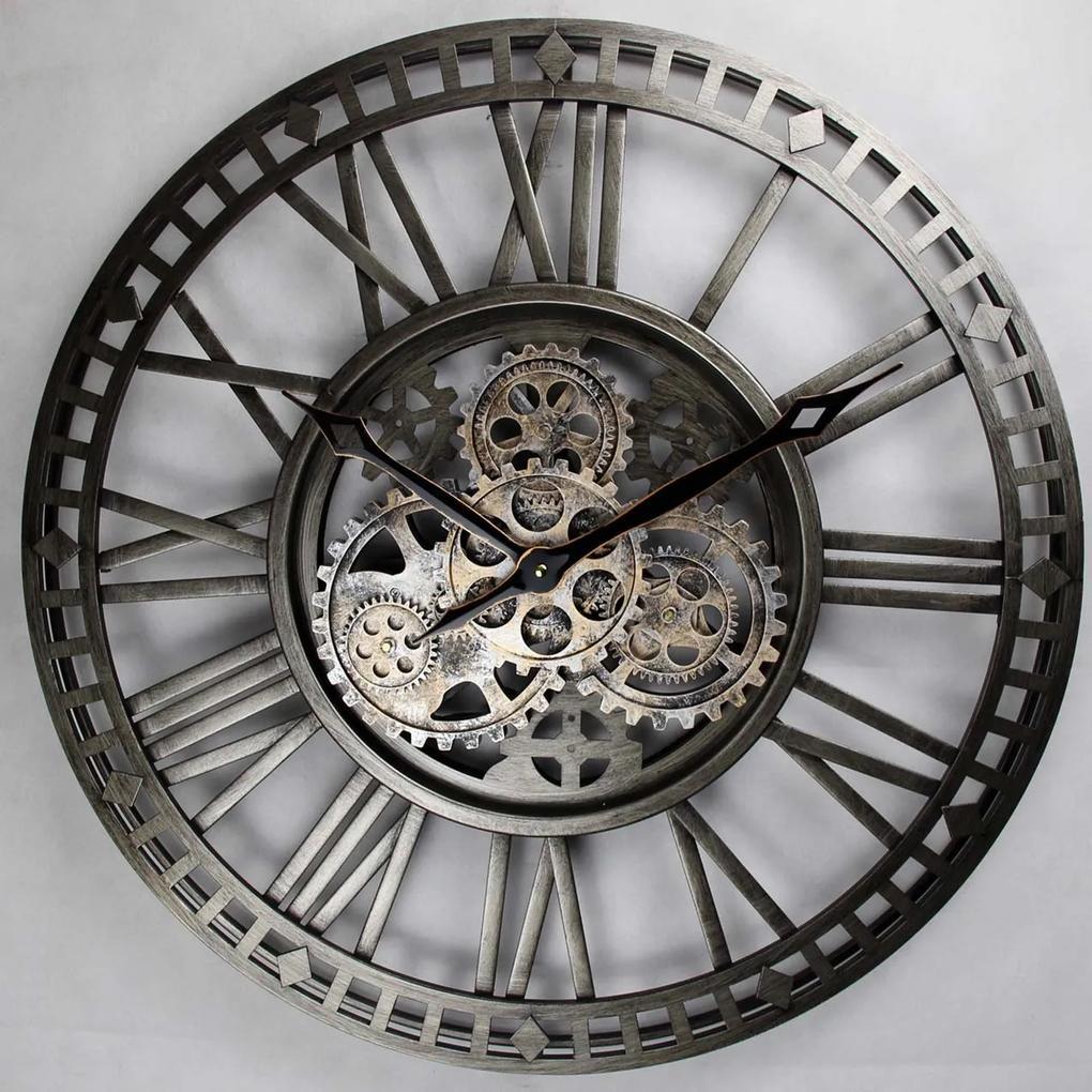 Ceas de perete negru metal si sticla 60 cm