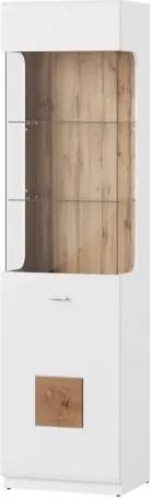 Vitrina din pal cu 1 usa Wood 10 Alb / Stejar Wotan, l52xA40xH200 cm