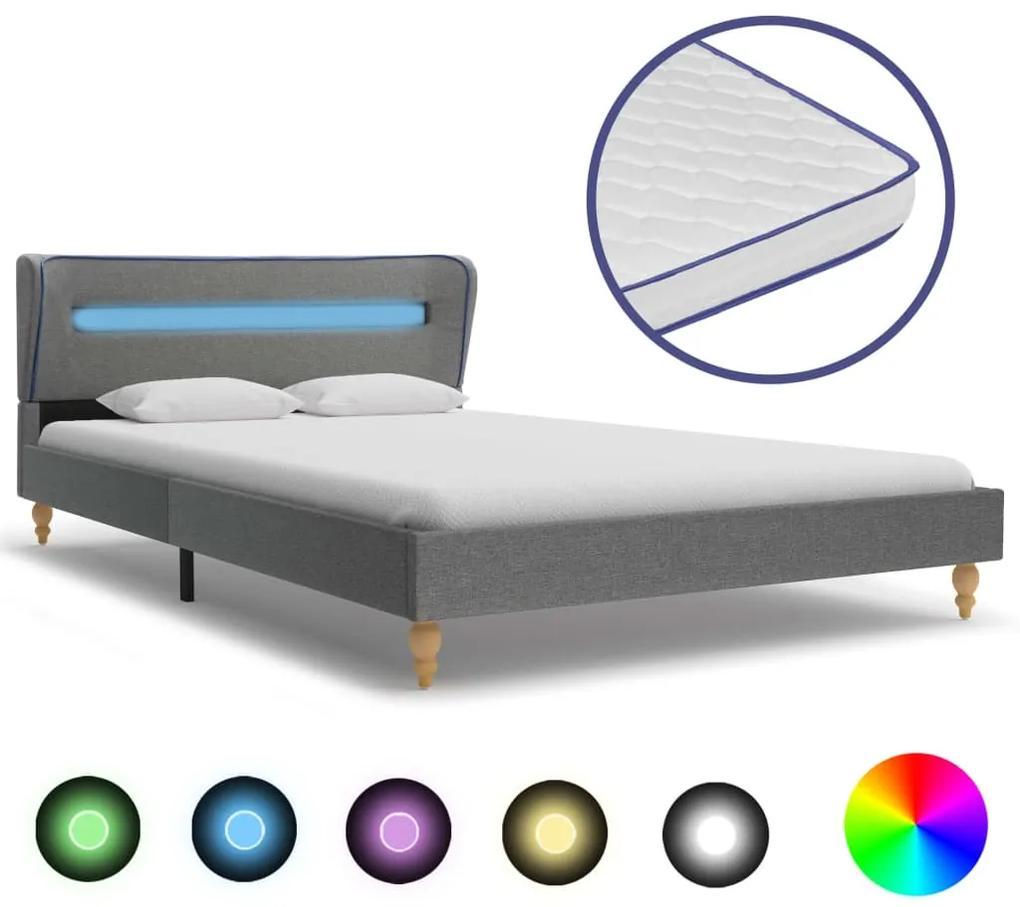 277687 vidaXL Pat cu LED și saltea spumă memorie, gri, 120 x 200 cm, textil