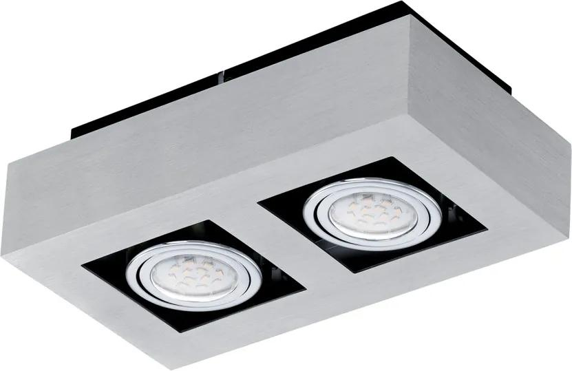 Plafoniera Loke aluminiu / otel, argintiu, 2 becuri, 230 V
