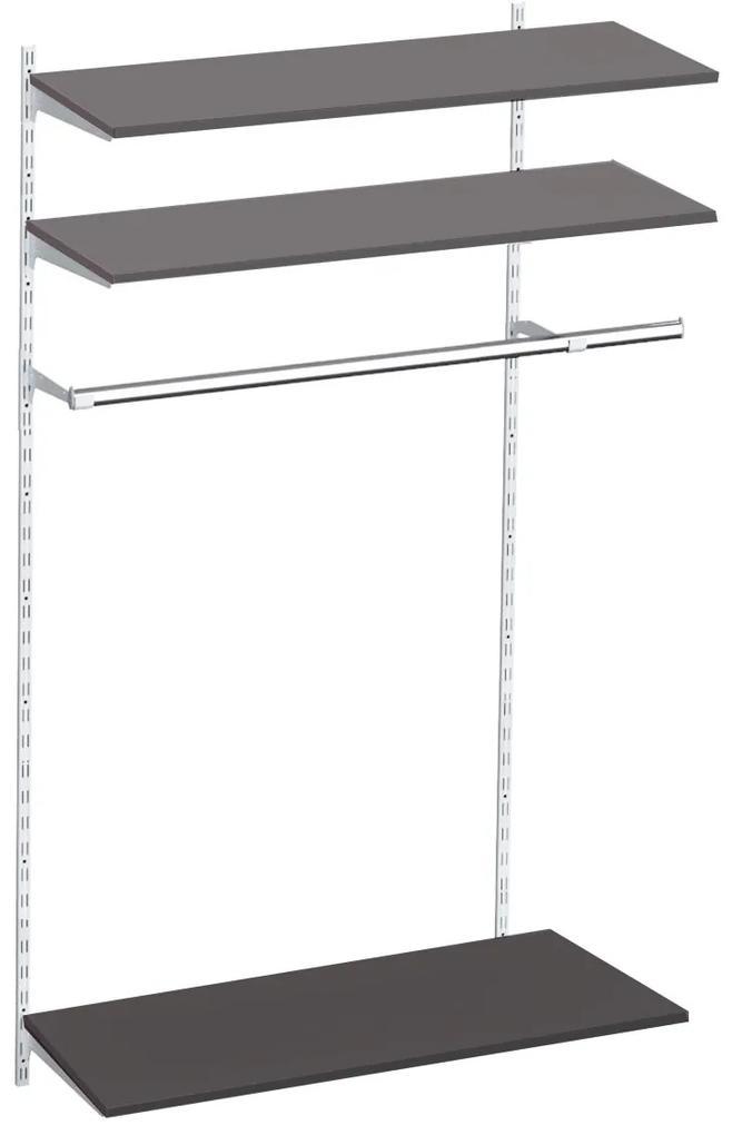 Raft depozitare suspendabil cu 3 polite si bara de haine, Metal/PAL Alb/Wenge, 80x30x200 cm