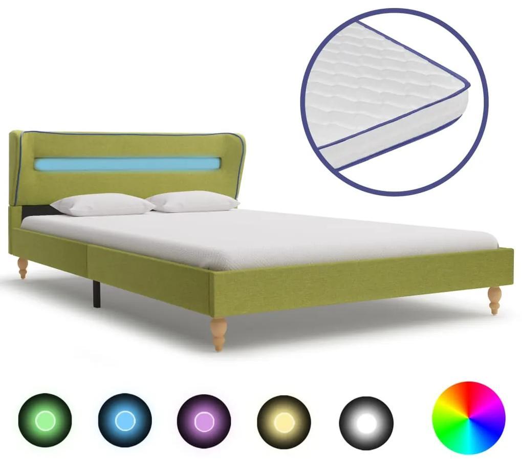 277691 vidaXL Pat cu LED și saltea spumă memorie, verde, 120 x 200 cm textil
