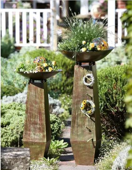 Set 2 suporturi flori Trapez, metal, maro verde, 115x58 cm
