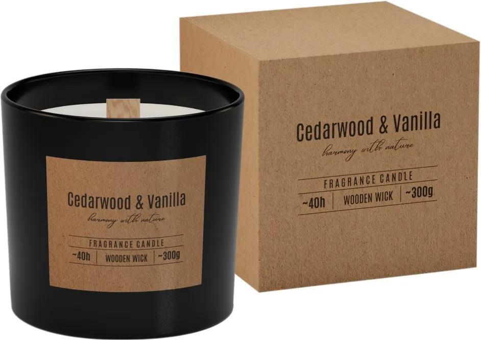 Lumânare parfumată în sticlă, cu fitil din lemnCedarwood  Vanilla, 300g, 11 cm