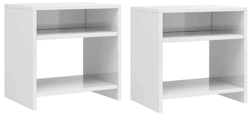 800022 vidaXL Noptiere, 2 buc., alb lucios, 40 x 30 x 40 cm, PAL