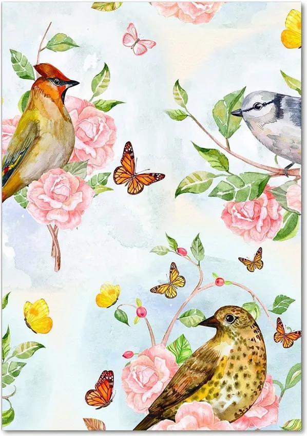 Tablou pe sticlă acrilică Păsări flori fluturi