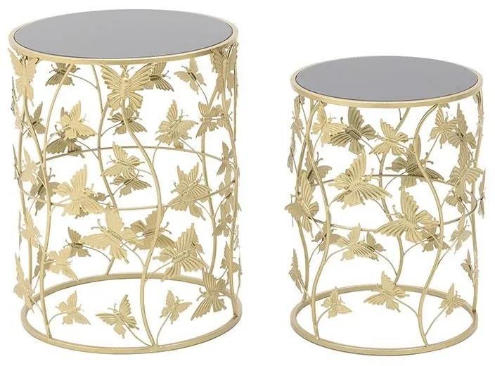Set 2 masute de cafea Butterflies Black Gold