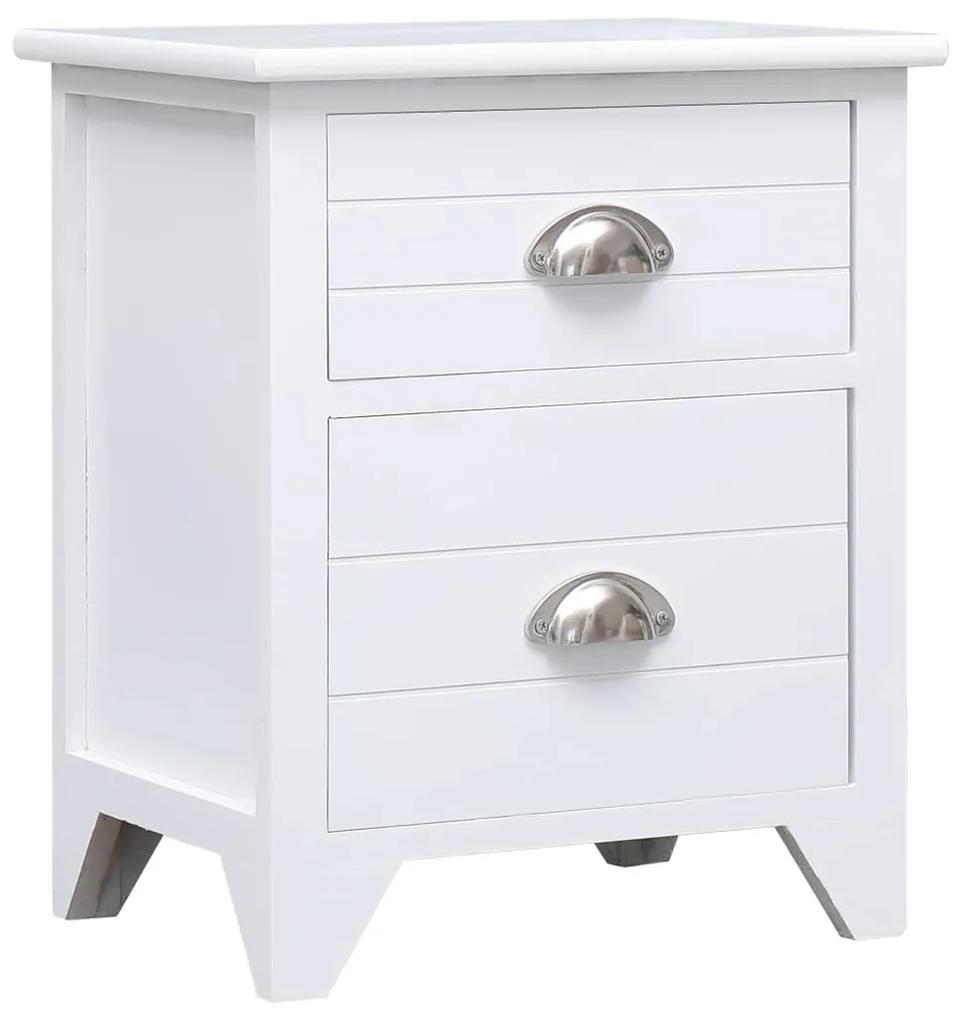 284049 vidaXL Noptieră, alb, 38 x 28 x 45 cm, lemn de paulownia