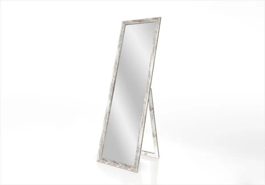 Oglindă cu suport și ramă cu patină Styler Sicilia, gri, 46 x 146 cm