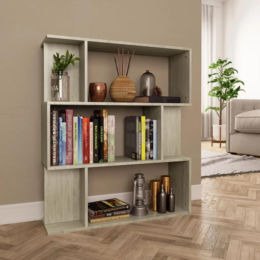800084 vidaXL Bibliotecă/Separator cameră, stejar Sonoma, 80x24x96 cm, PAL