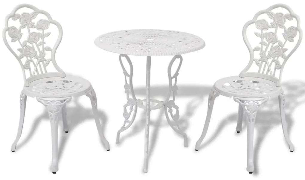 42165 vidaXL Set mobilier bistro, 3 piese, alb, aluminiu turnat
