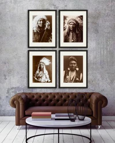 Tablou 4 piese Framed Art Indian Chief Portraits