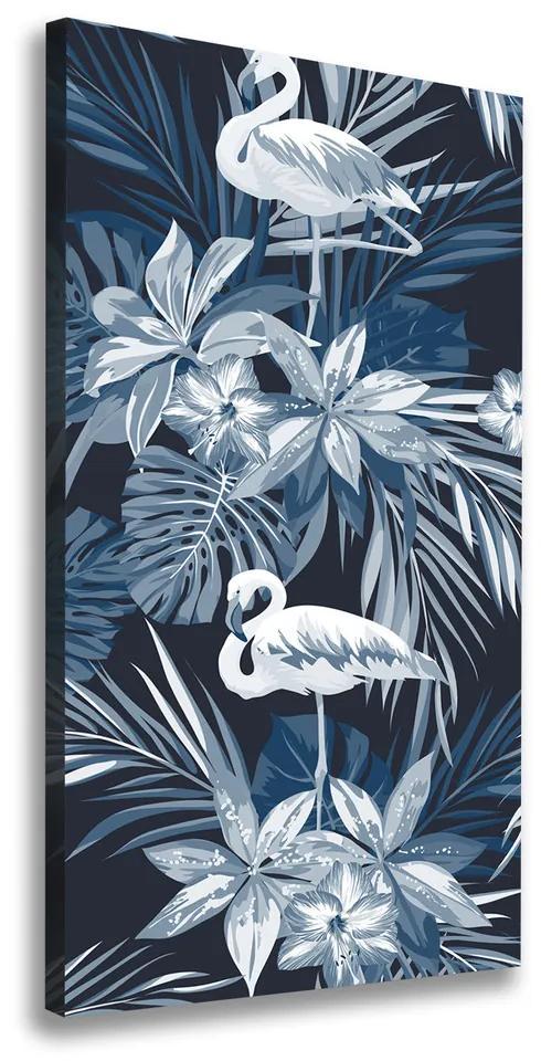 Pictură pe pânză Flori și flamingo