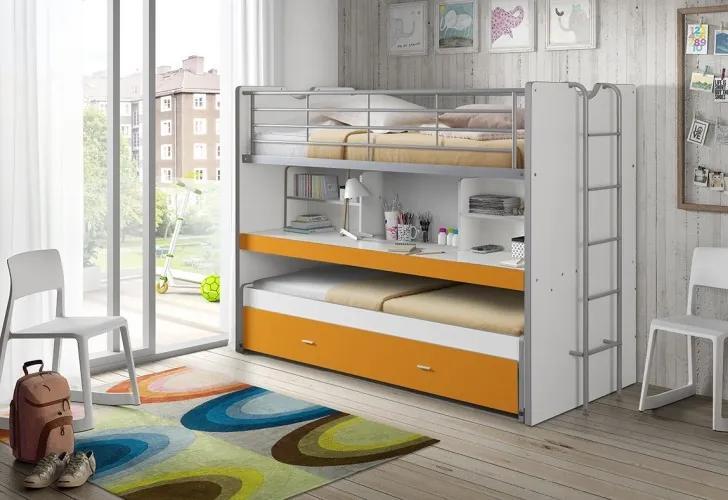 Pat etajat din pal si metal cu birou incorporat si sertar, pentru copii Bonny Alb / Portocaliu, 200 x 90 cm