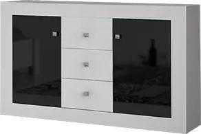 Comoda din pal cu usi si sertare ROMA 2D3S WHITE 140x90x47 cm