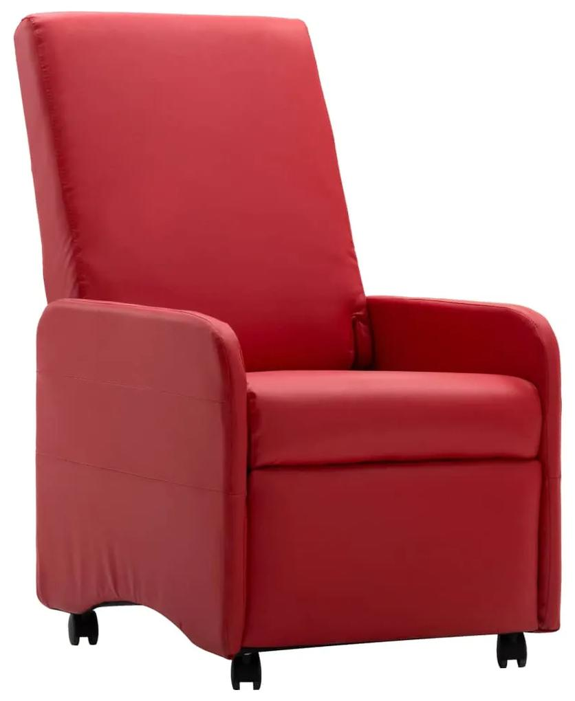 248636 vidaXL Fotoliu rabatabil, roșu, piele ecologică