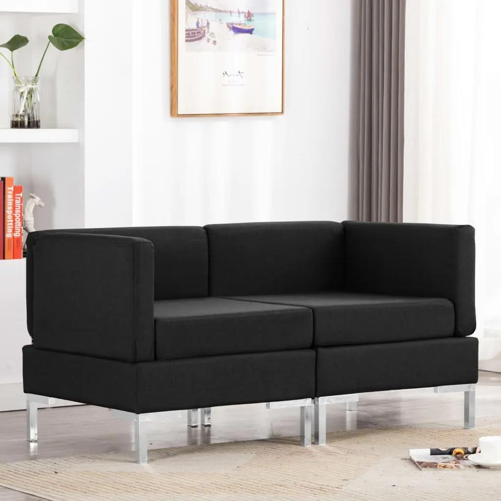 287046 vidaXL Canapele de colț modulare cu perne, 2 buc., negru, textil