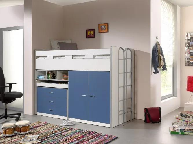 Pat etajat din pal si metal cu birou incorporat, 3 sertare si dulap, pentru copii Bonny High Alb / Albastru, 200 x 90 cm