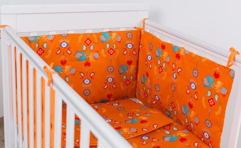 Lenjerie patut bebelusi portocalie 3 piese Jocul Elefantilor 120 x 60 cm