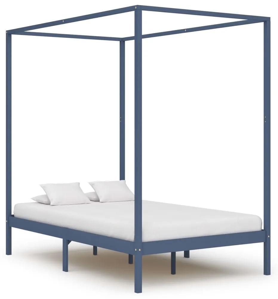 283276 vidaXL Cadru de pat cu baldachin, gri, 120x200 cm, lemn masiv de pin
