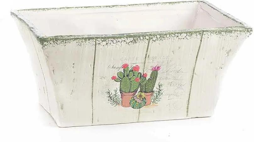 Ghiveci pentru flori ceramica alba model Cactusi cm 19 cm x 11 cm x 9 H