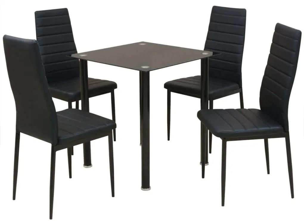 242933 vidaXL Set masă și scaune de bucătărie, 5 piese, negru