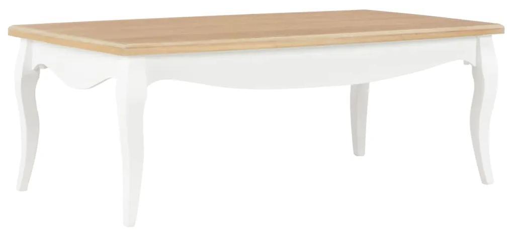 280001 vidaXL Măsuță de cafea, alb și maro,110x60x40 cm, lemn masiv de pin